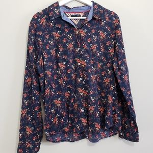 Tommy Hilfiger Shirt Button Up Floral Navy Size XL